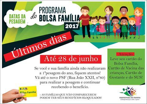 PESAGEM BOLSA FAMILIA - JUNHO 2017