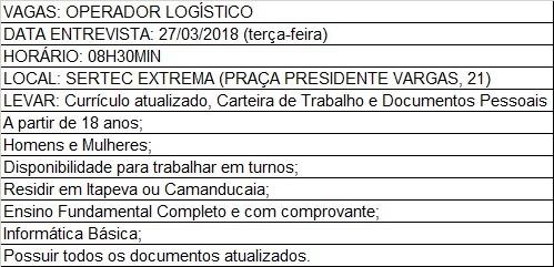 OPORTUNIDADE DE EMPREGO - 23.03.2018